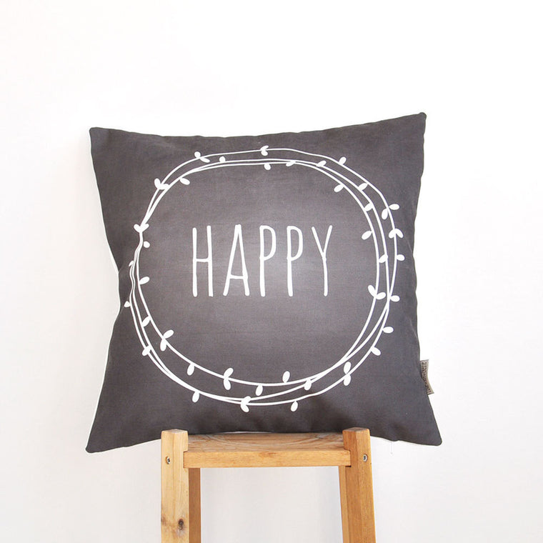 Modern Decorative Pillow Cover with Happy Print - Decorative Pillows - Love, Joy, Create - Little A & Co.