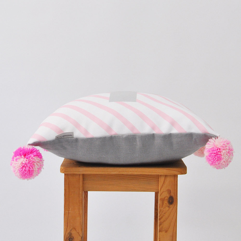 Modern Decorative Pillow Cover with Pastel Pink Stripes & Gray Cross Design - Decorative Pillows - Love, Joy, Create - Little A & Co.