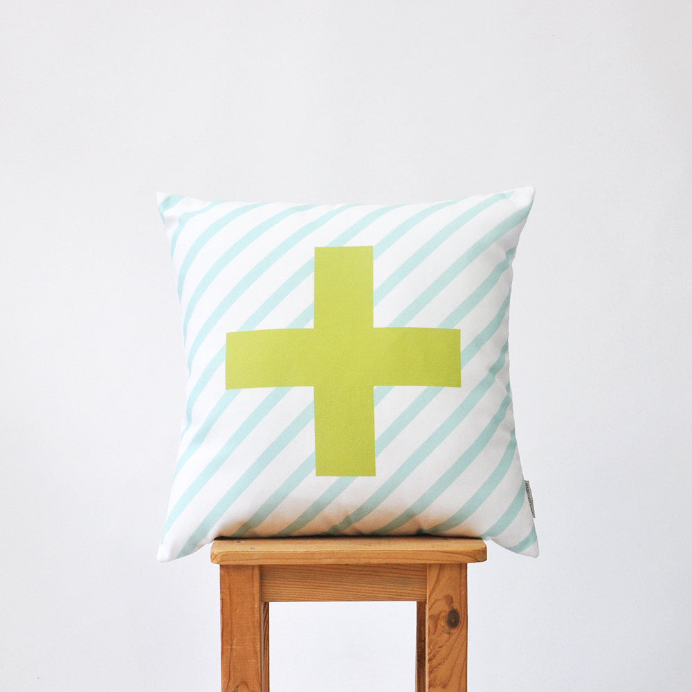 Cross Modern Nursery Pillow Cover - Decorative Pillows - Love, Joy, Create - Little A & Co.