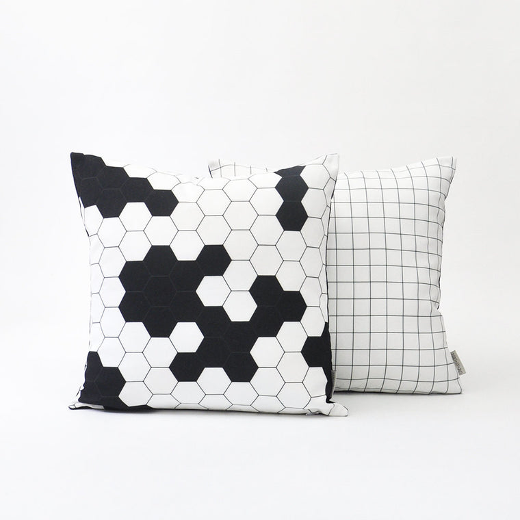 Modern Geometric Decorative Pillow Cover Set with Honeycomb and Grid Design - Decorative Pillows - Love, Joy, Create - Little A & Co.