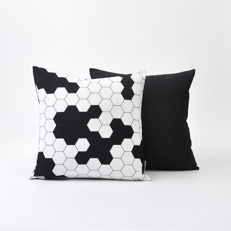 Black & White Modern Geometric Pillow Cover Set with Honeycomb Design - Decorative Pillows - Love, Joy, Create - Little A & Co.