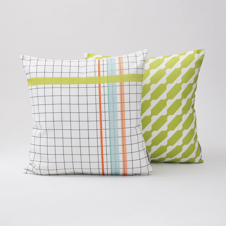 Modern Geometric Decorative Pillow Cover - With Green Stripes & Grid Pattern - Decorative Pillows - Love, Joy, Create - Little A & Co.