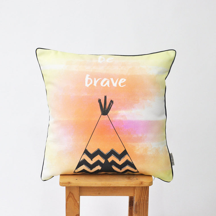 Modern Decorative Pillow Cover with Be Brave Phrase & Teepee Design - Decorative Pillows - Love, Joy, Create - Little A & Co.