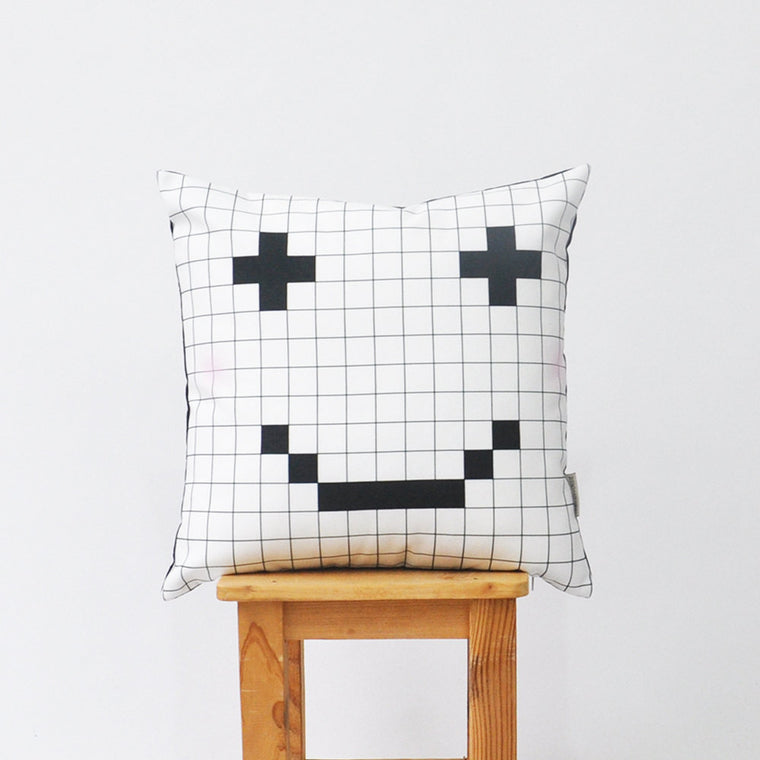 Black and White Modern Decorative Pillow Cover with Pixel Smiling - Decorative Pillows - Love, Joy, Create - Little A & Co.