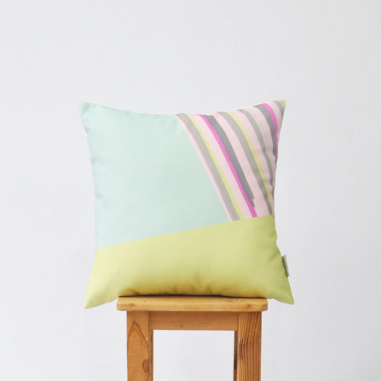 Modern Decorative Pillow Cover with Mint Green & Pink Stripe - Decorative Pillows - Love, Joy, Create - Little A & Co.