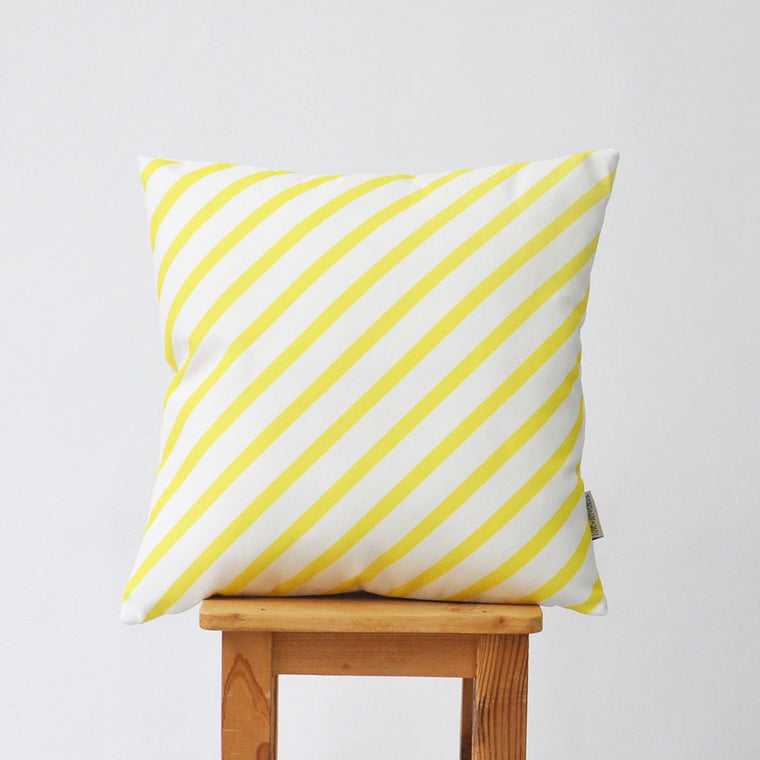 Modern geometric pillow cover with yellow and white stripes - Decorative Pillows - Love, Joy, Create - Little A & Co.