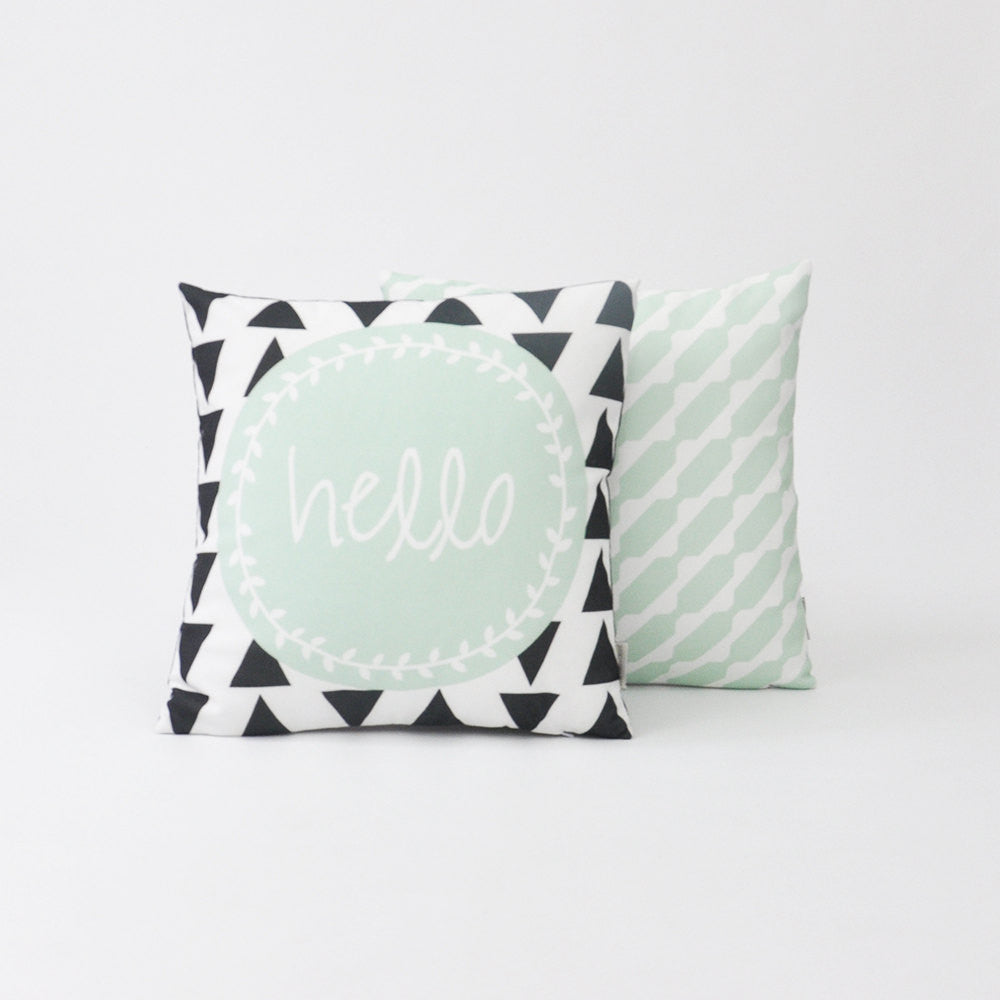 "Modern Decorative Pillow Set Cover with ""Hello"" Design - Decorative Pillows - Love, Joy, Create - Little A & Co."