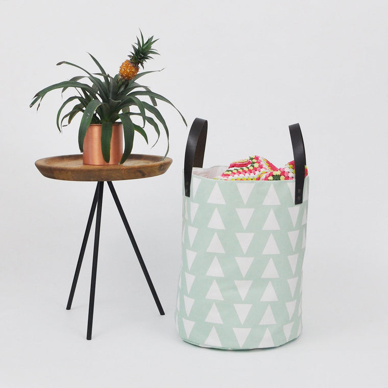 Mint Triangles Fabric Bin XXLarge - Baskets - Love, Joy, Create - Little A & Co.