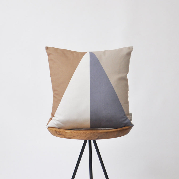 Modern Geometric Decorative Pillow Cover - Shades of Brown - Decorative Pillows - Love, Joy, Create - Little A & Co.