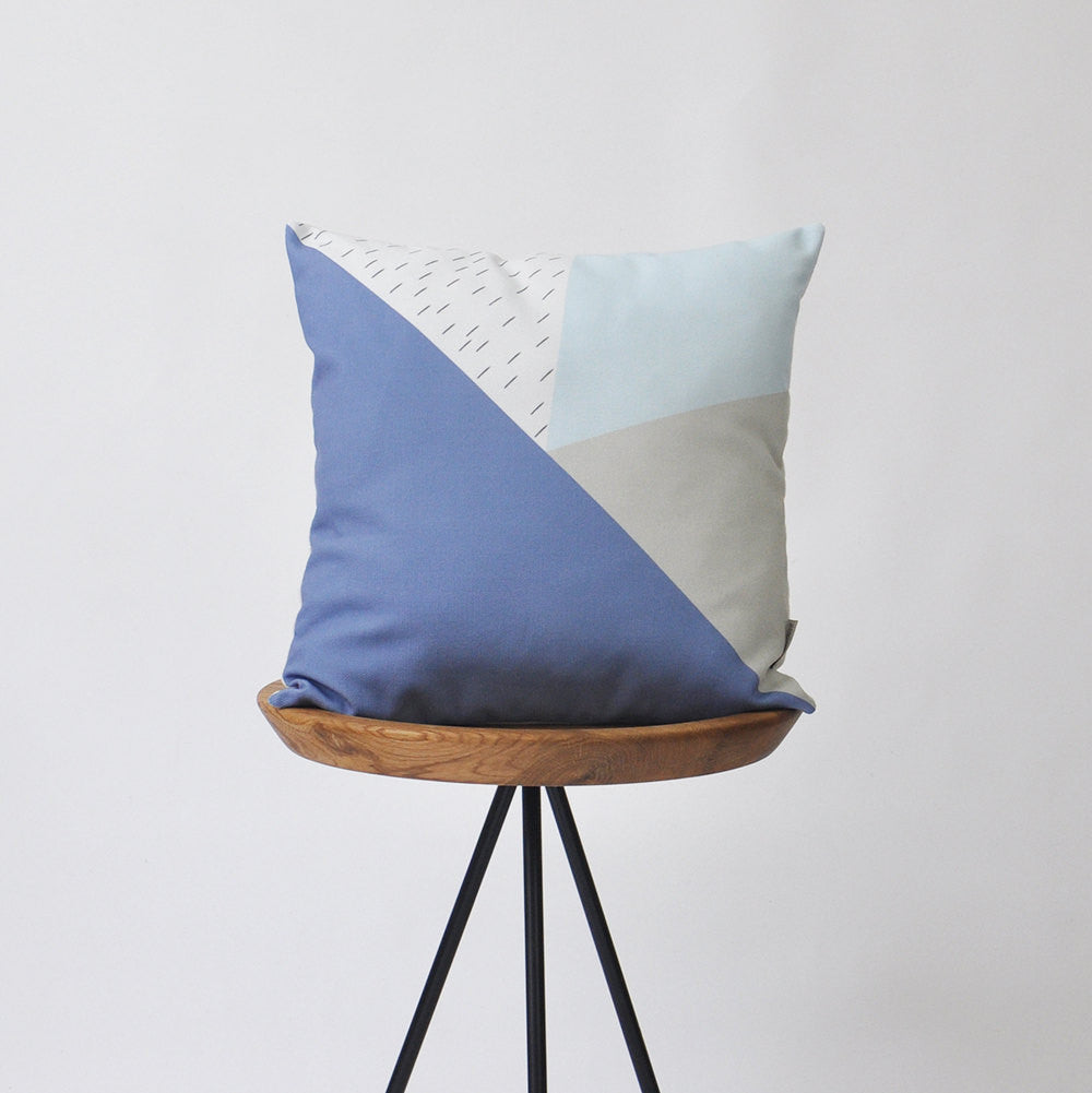 Modern Decorative Pillow Cover with Geometric Shades of Blue & Ivory - Decorative Pillows - Love, Joy, Create - Little A & Co.
