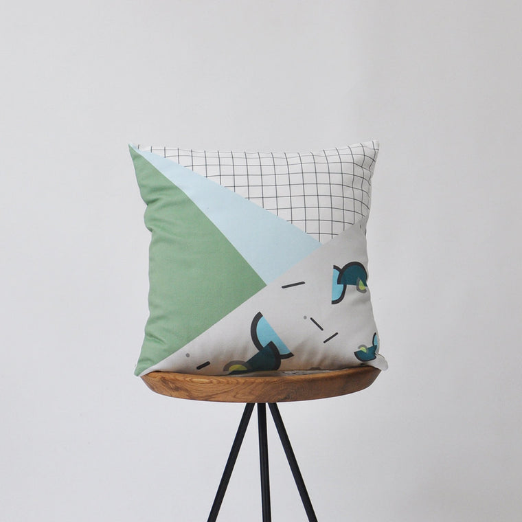 Modern Decorative Pillow Cover with 80's Memphis Inspired Print - Green - Decorative Pillows - Love, Joy, Create - Little A & Co.