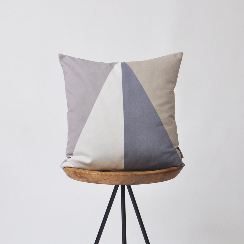 Modern Geometric Decorative Pillow Cover - Pastel Shades of Gray & Brown - Decorative Pillows - Love, Joy, Create - Little A & Co.