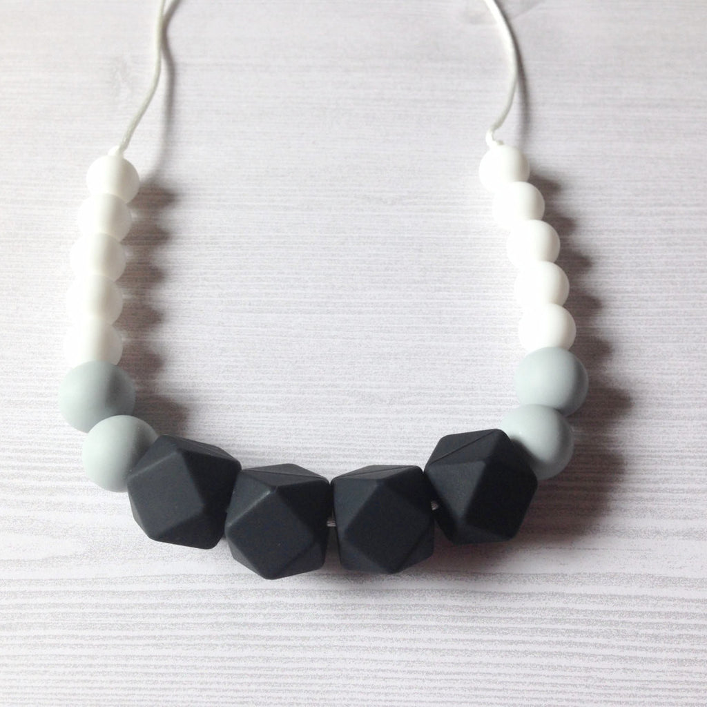 Geometric Black Silicone Teething Necklace - teether - Sweetie Pie Design Co. - Little A & Co.