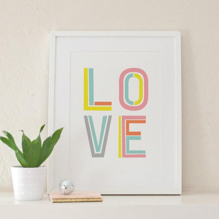 Love Typographic Art Print - Art Prints - Graphic Anthology - Little A & Co.