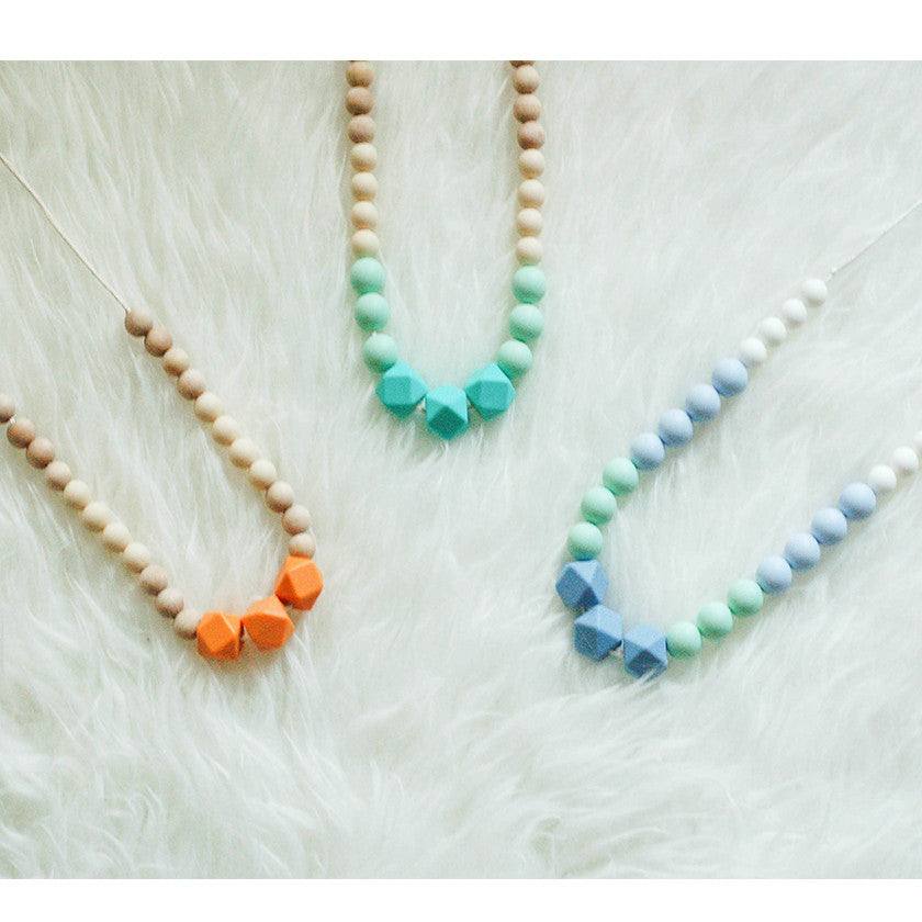 Soleil - Silicone & Wood Teething Necklace - teether - Sweetie Pie Design Co. - Little A & Co.