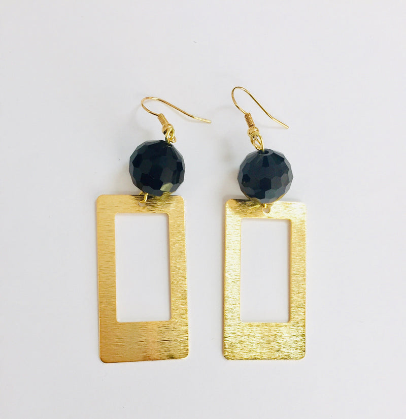 Gold Dangle Rectangle Earrings Black Stone