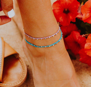 Silver Stitched Bead Anklet Pura Vida
