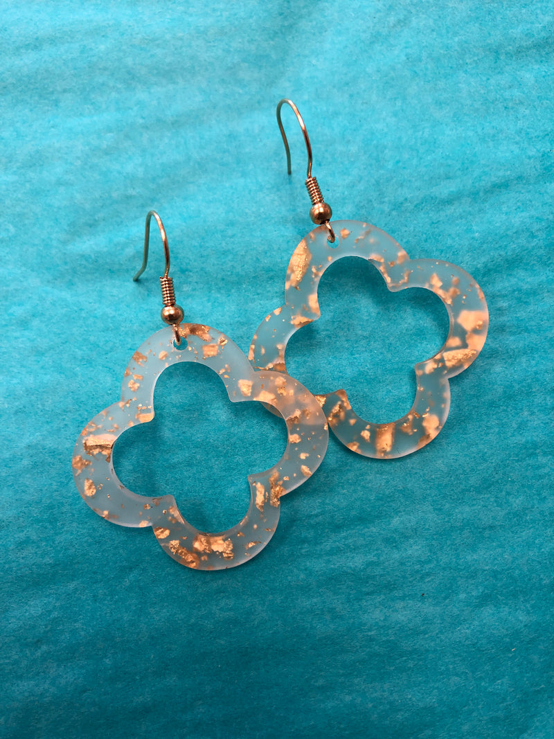 Gold Confetti Quatrefoil Earrings