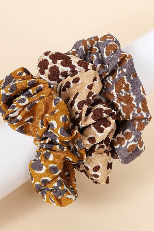 Two Tone Leopard Print Scrunchie