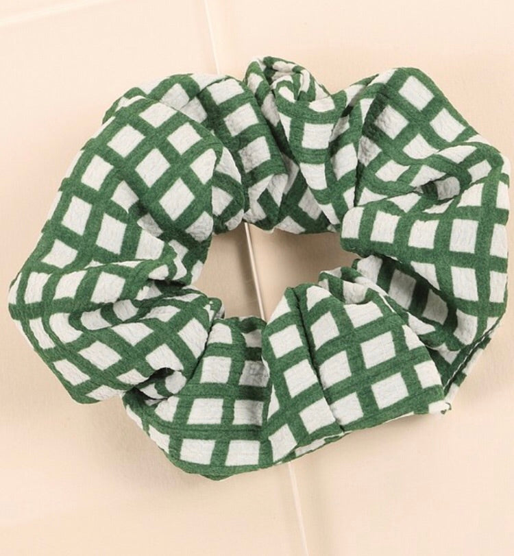 Grid Print Hair Scrunchies