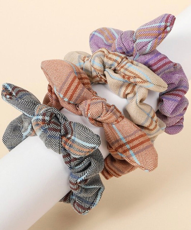Plaid Bunny Bow Scrunchie