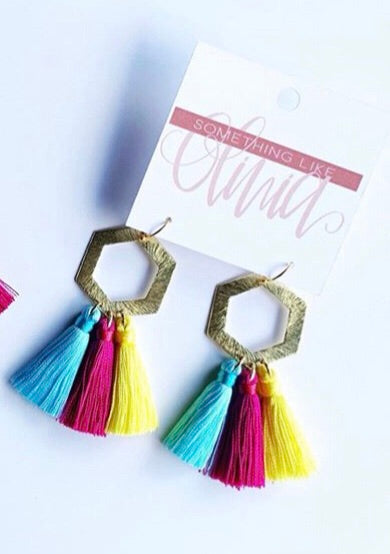 Something Like Olivia Geo Multi Color Tassel