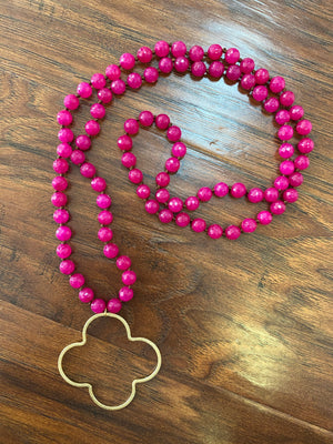Pink Quatrefoil Necklace