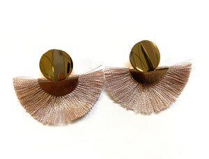 Gold Post Fan Earrings