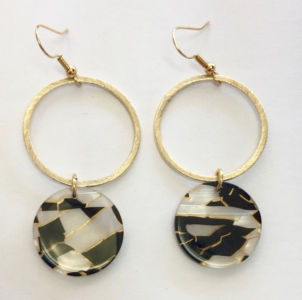 Gold Dangle Earrings Hoop + Black/White discs