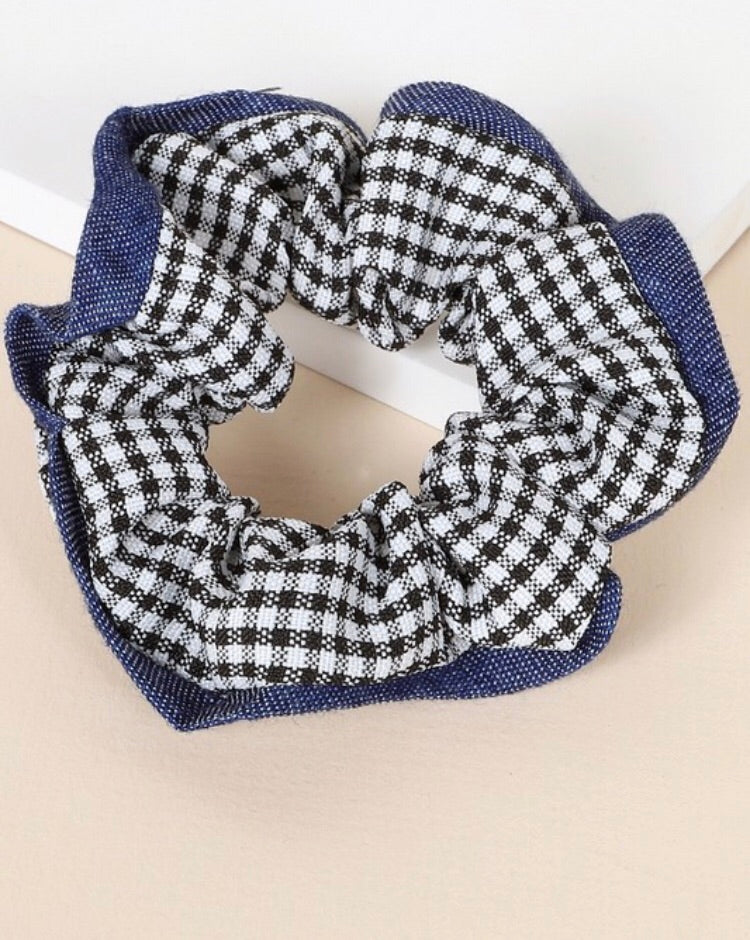 Gingham Twill Scrunchies