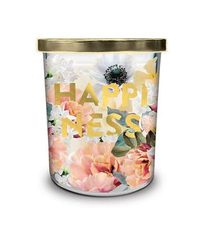 HAPPINESS  Large Printed Glass Candle