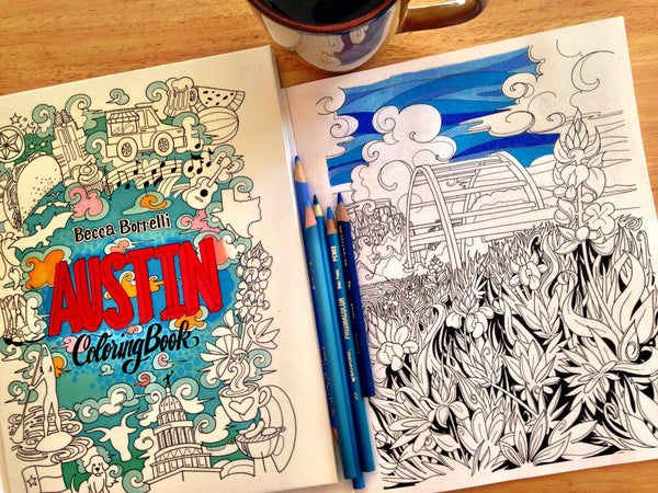 FIRST EDITION Austin, TX Adult Coloring Book - Borrelli Illustrations