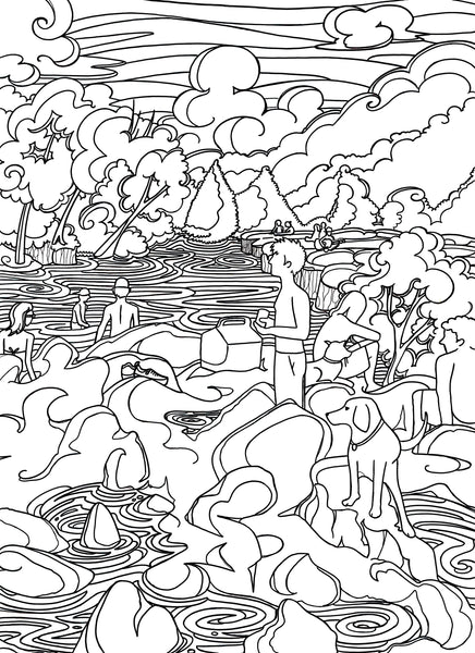 Black and white coloring page of Barton Creek in Austin, TX by Austin artist Becca Borrelli