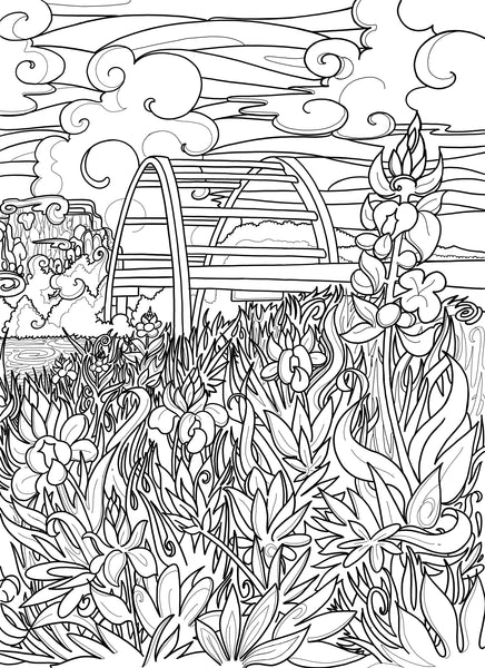 Black and white coloring page of Pennybacker Bridge in Austin, TX by Austin Artist Becca Borrelli