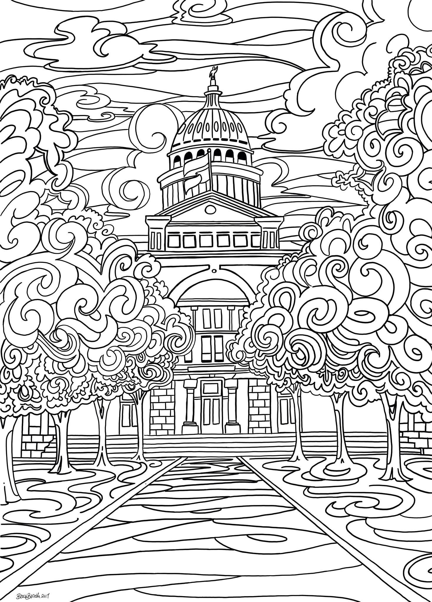 Austin, TX Capitol Coloring Page - Borrelli Illustrations