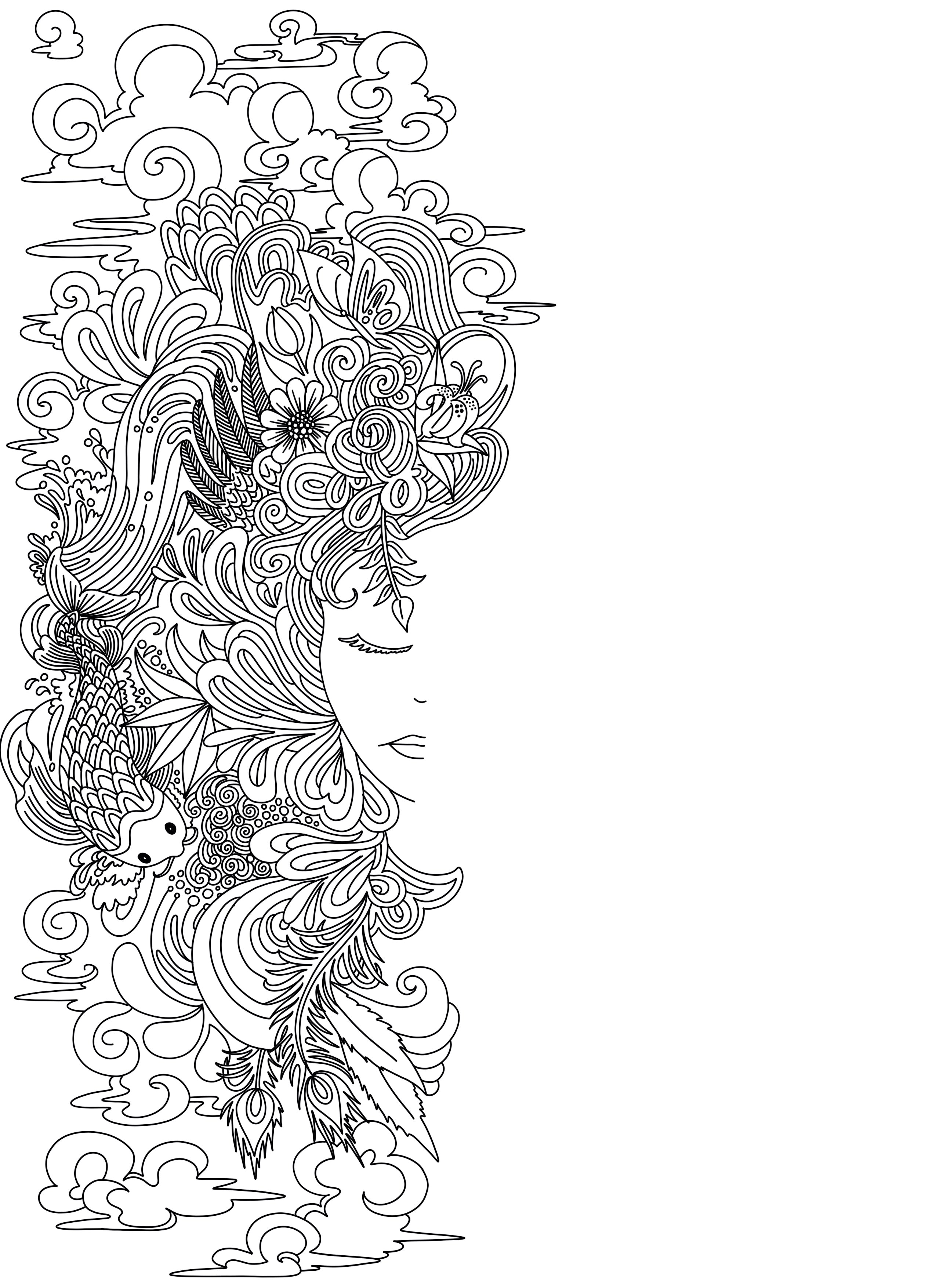 Goddess Coloring Page - Borrelli Illustrations