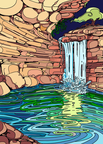 Hamilton Pool Print - Borrelli Illustrations