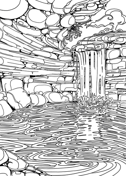 Black and white coloring page of Hamilton Pool in Austin, TX by Austin artist Becca Borrelli