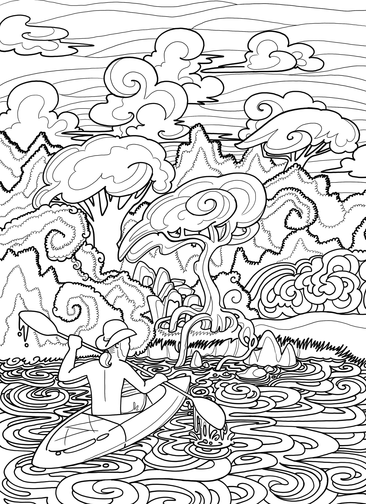 Kayak Coloring Page - Borrelli Illustrations