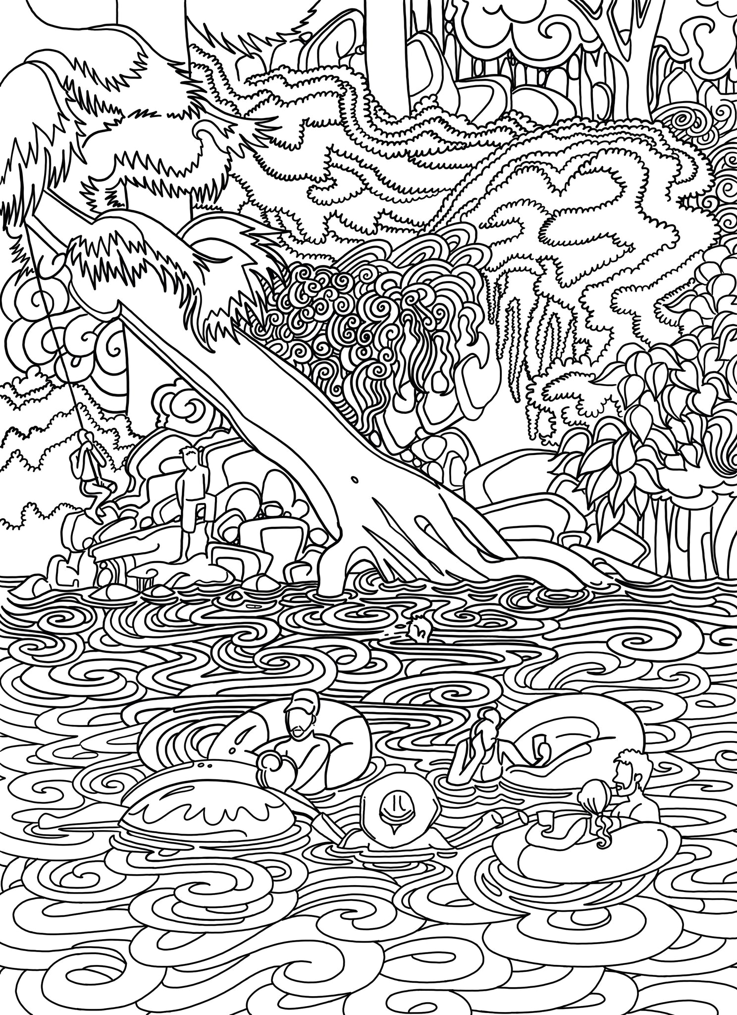 Krause Springs Coloring Page - Borrelli Illustrations