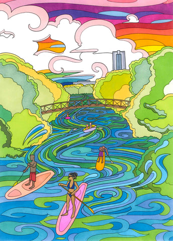 Lou Neff Paddleboarder Print - Borrelli Illustrations