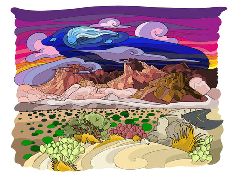 Nightfall at Chisos Mountains Print - Borrelli Illustrations