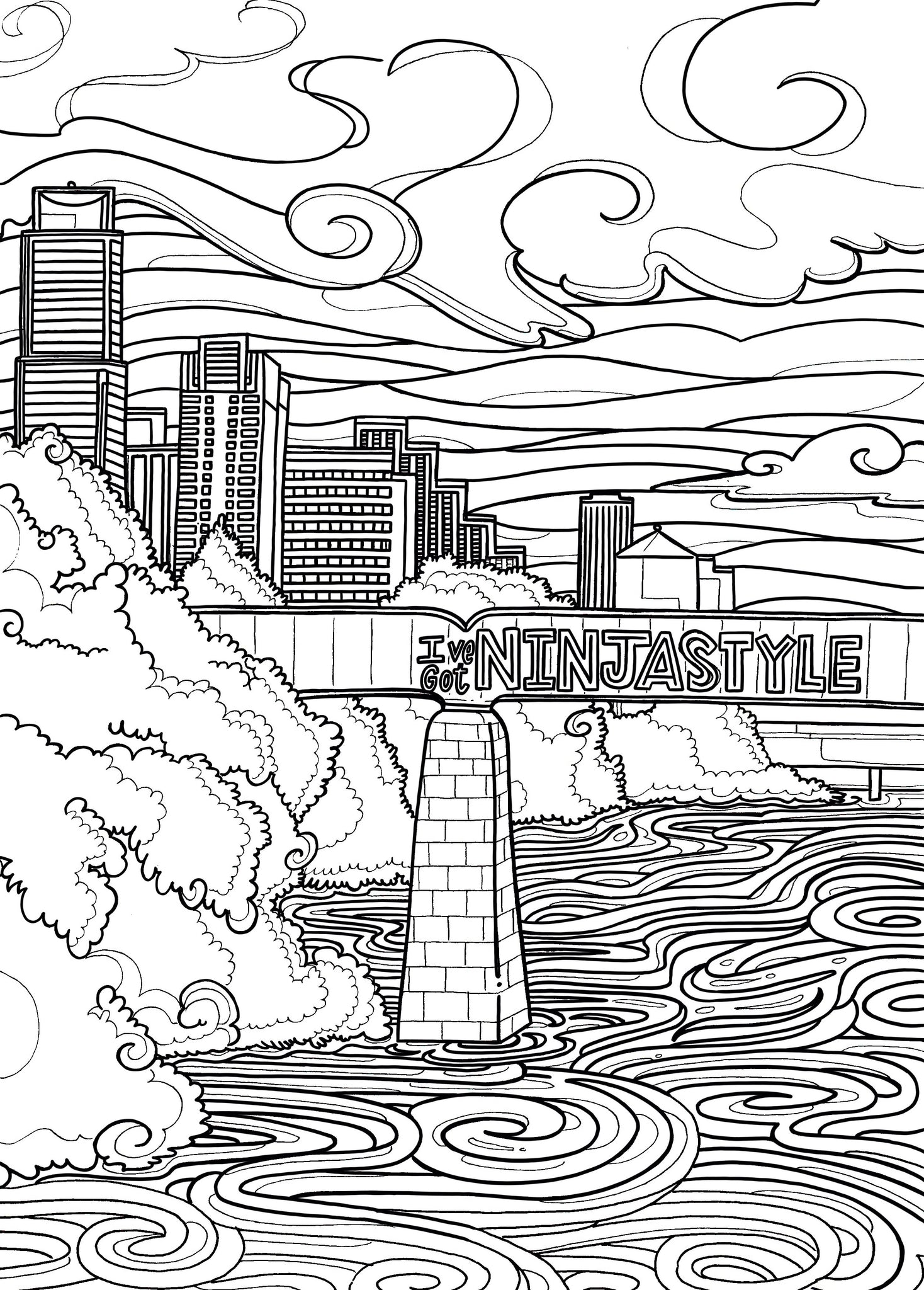 Ninja Style Coloring Page - Borrelli Illustrations