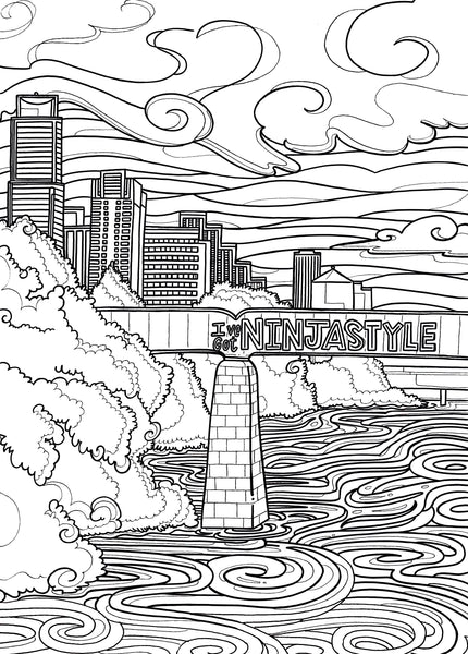 Black and white coloring page of I've Got Ninja Style at Austin Railroad Graffiti Bridge