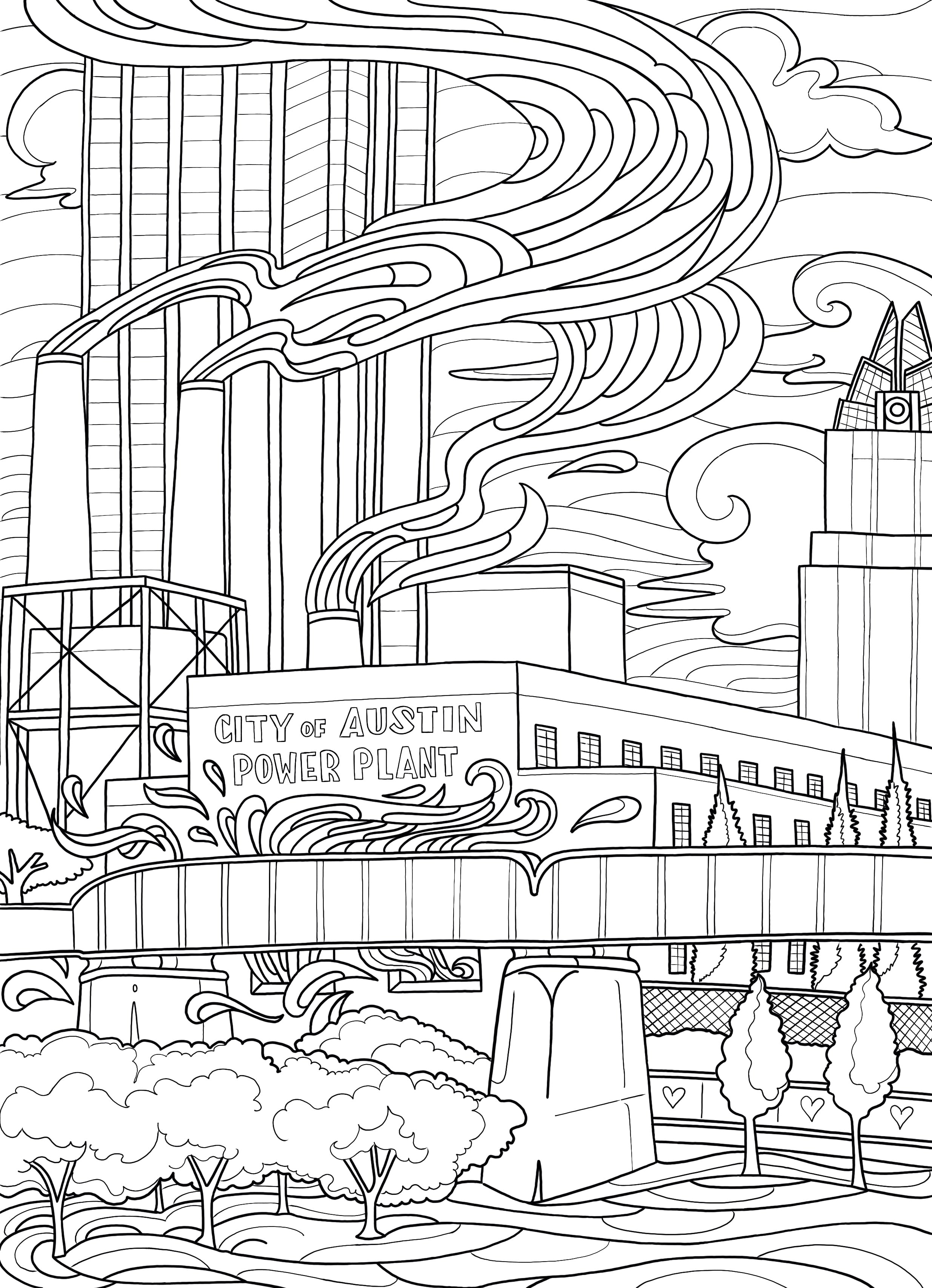 Power Plant Coloring Page - Borrelli Illustrations
