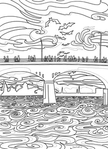 Austin Congress Bridge Coloring Page - Borrelli Illustrations