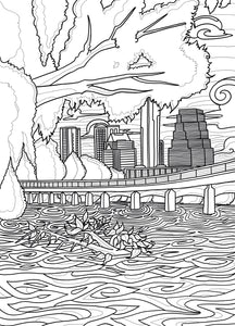 Austin Boardwalk Coloring Page - Borrelli Illustrations