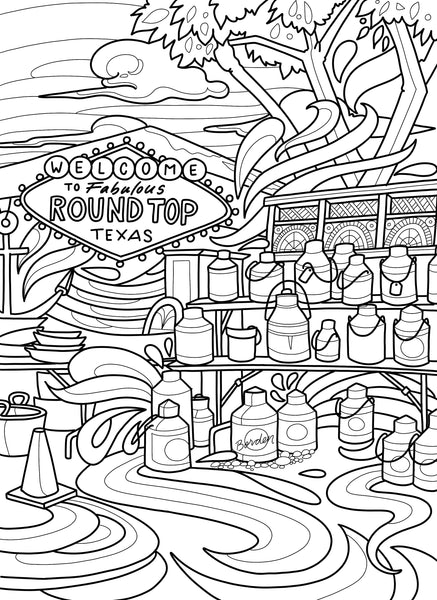 Small Town Texas coloring book - Borrelli Illustrations