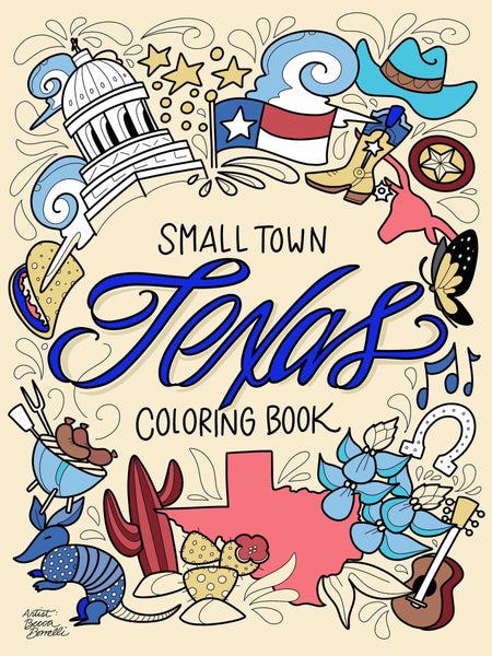 Small Town Texas Coloring Book Wholesale - Borrelli Illustrations