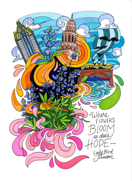 colorful-illustration-of-famouse-wildflowers-quote-spoken-by-Lady-Bird-Johnson-by-Becca-Borrelli